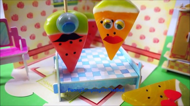Five Fruits Jumping on the Bed   Little Candy Fruit song video for Kids