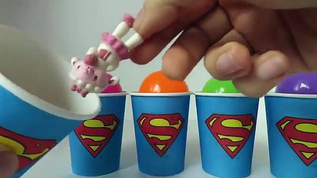 Superman Cups with Surprises Peppa Pig Minions Videos for Kids