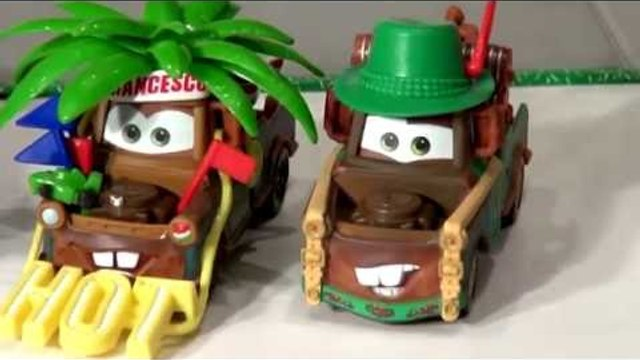 Disney Pixar Cars with Mater or Tow Mater as Materhosen from Cars 2 with Lightning McQueen, and Mate