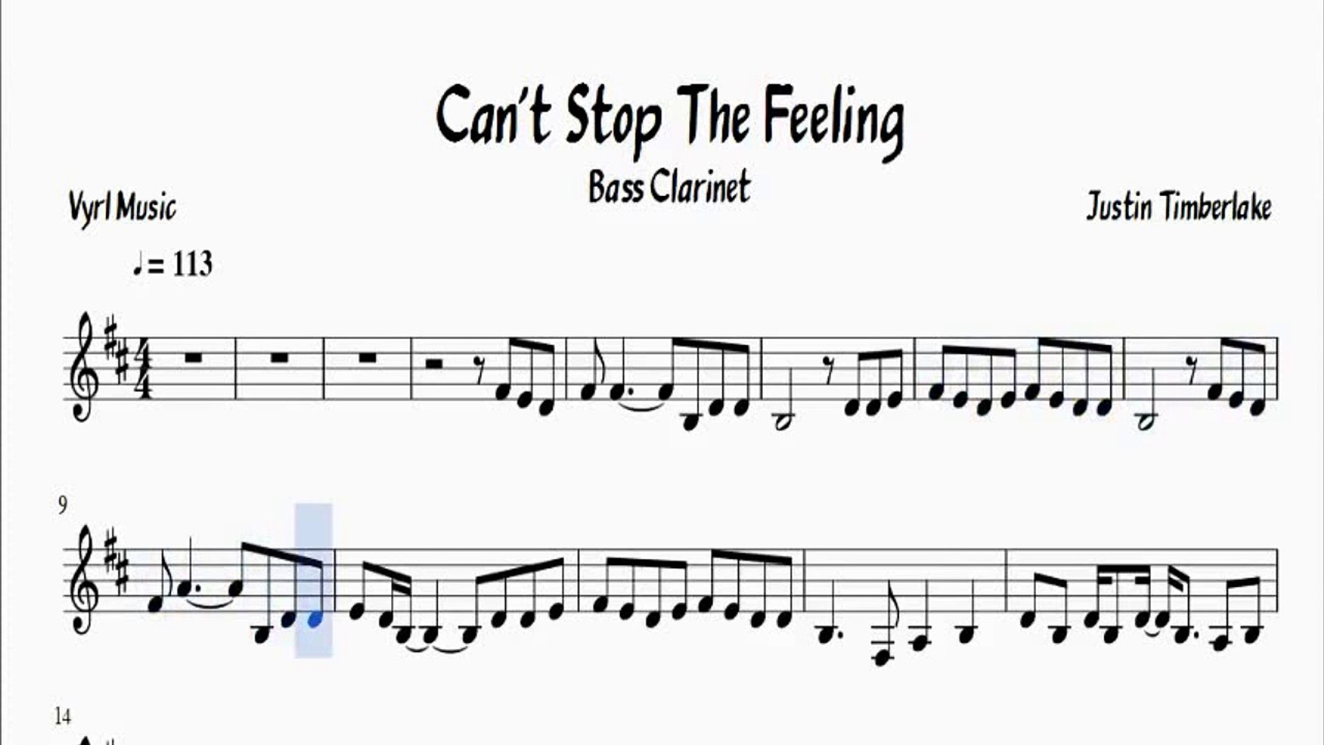 Sheet Music Cant Stop The Feeling Justin Timberlake Bass Clarinet