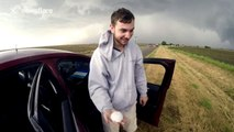 Storm chasers track large hail storm and tornadoes in Kansas