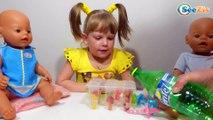 Кукла Беби Борн. Девочка Ника с куклами готовит мороженое. Видео для детей. Tiki Taki Nika