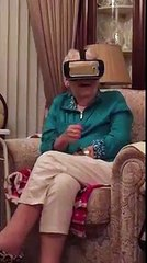 Grandmother tries virtual reality