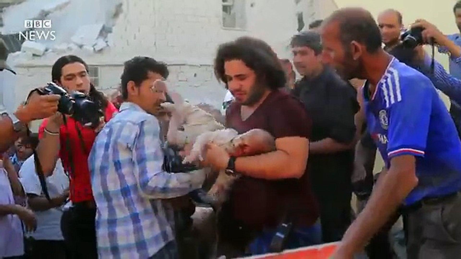 Inside Aleppo syria immediately after air strikes
