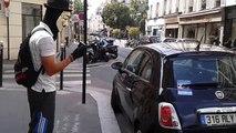 flashraid   29 aout  2014 un anonyme et un monsieur en voiture  devant le secte shop