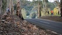 Un caméraman pense être caché derrière des arbres lors d'une course de drift...