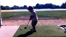 24 month old left-handed golfer at the range. Bubba Watson watch out!