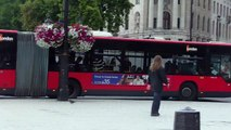 453, 12 & 29 buses in Trafalgar Square (Mercedes-Benz Citaro G articulated)