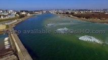 Plage de Audierne et de l'estuaire de la rivière de Goyen vue par drone, Bretagne, Morbihan, France