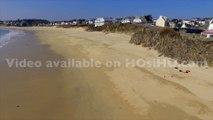 Plage de Audierne et de l'estuaire de la rivière de Goyen vue par drone, Bretagne, Morbihan, France (4)