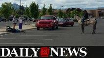 Oregon Rancher On Horseback Lassos Bike Thief At Walmart