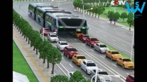 China made an amazing elevated bus that drives on top of cars
