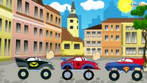 Spiderman Truck w/ Superman Truck vs Batman Truck & Iron Man Truck. Superheroes Monster Trucks