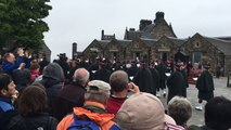 """Marching band at Edinburgh Castle plays """"Scotland The Brave"""""""