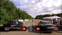 Porsche 911 Turbo Evotech vs Mercedes SLS vs Lamborghini LP-550 vs BMW M3 ESS