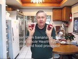 Frozen Plum banana ice cream made on a Whole Health Foundation juicer and food processor
