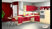 Laminate Floor And Red Chairs Set Design For Small Kitchen Decor Ideas