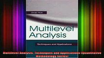 READ book  Multilevel Analysis Techniques and Applications Quantitative Methodology Series Full Free