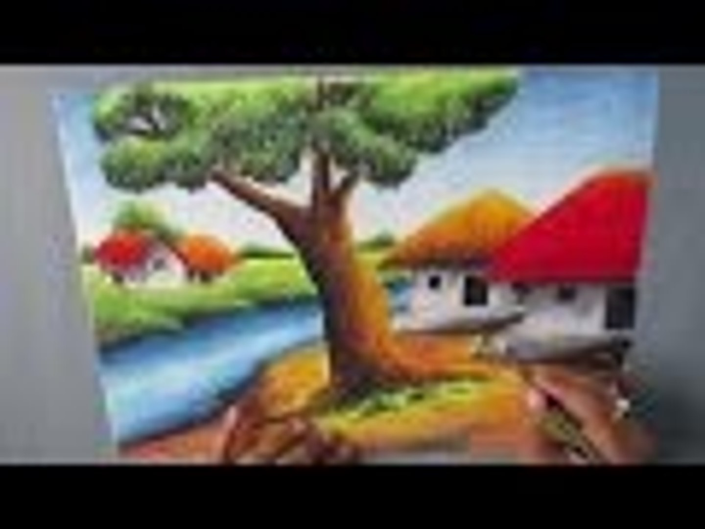 How To Draw A Village Landscape With Oil Pastel Episode 16 Video Dailymotion