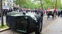 Voiture retournée lors de la manifestation du 14 juin à Paris  - Vidéo 360°