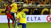 Lucas Lima of Brazil celebrates his goal with Dani Alves in this strange way