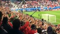 Les supporteurs hongrois fêtent le premier but