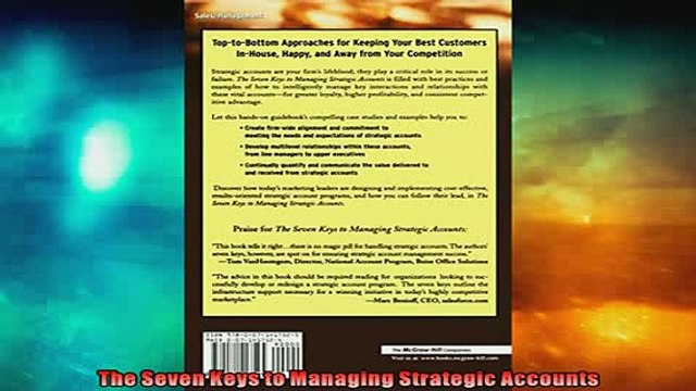 READ book  The Seven Keys to Managing Strategic Accounts  FREE BOOOK ONLINE