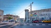 The Israeli West Bank barrier is a separation barrier timelapse hyperlapse. Bethlehem, Palestine