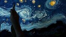 Des peintures de Van Gogh sur de l'encre noire