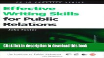 Read Effective Writing Skills for Public Relations (Institute of Public Relations PR in Practice)
