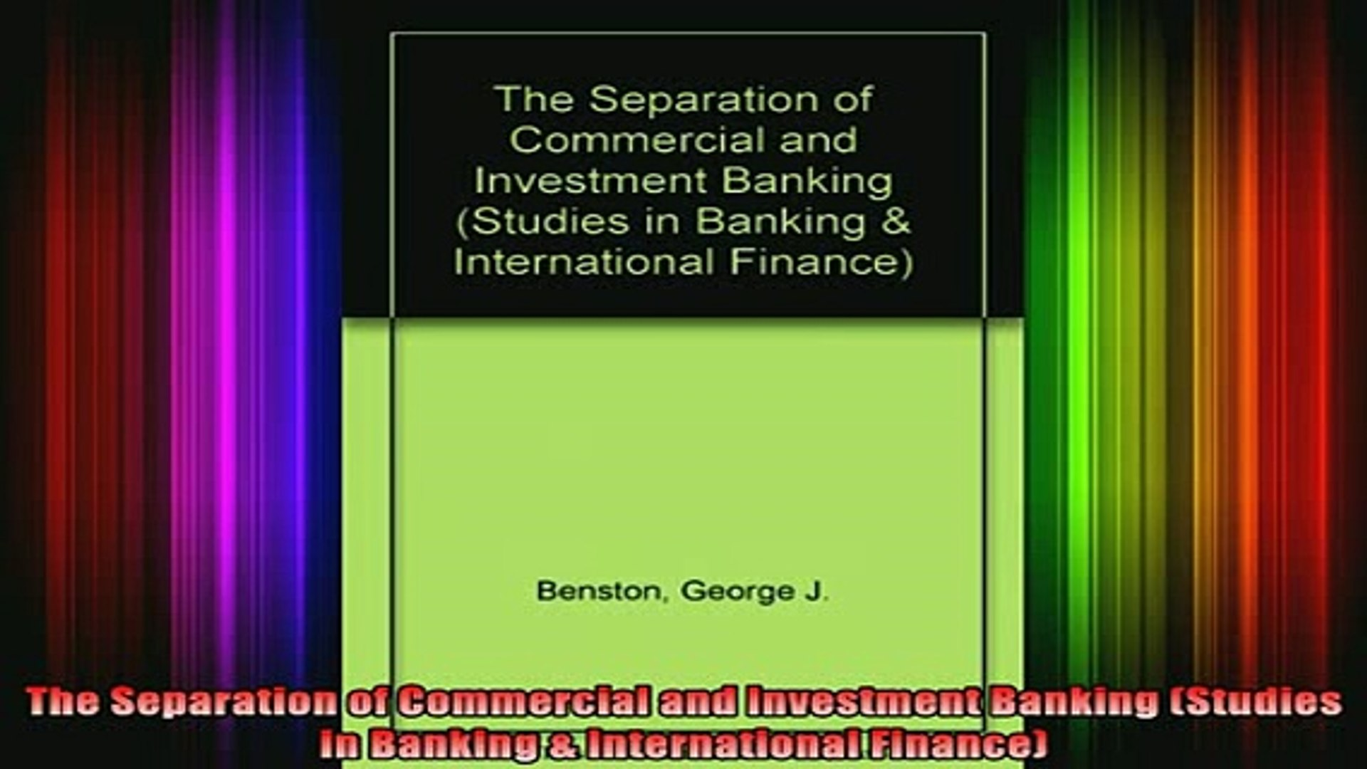 READ book  The Separation of Commercial and Investment Banking Studies in Banking  International Ful
