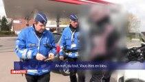 Des policiers belges arrêtent un motard qui roule avec une moto de la police