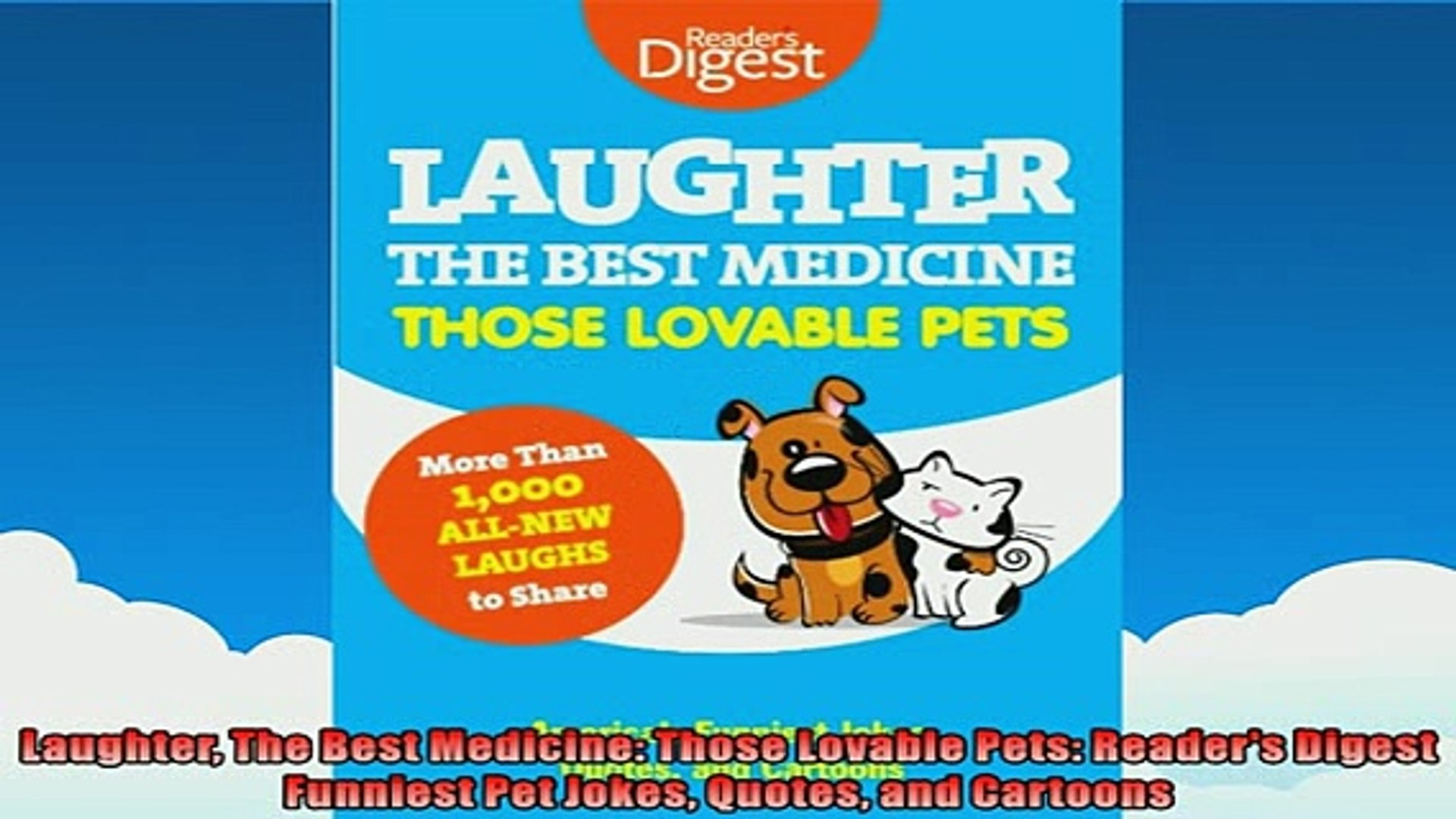 EBOOK ONLINE  Laughter The Best Medicine Those Lovable Pets Readers Digest Funniest Pet Jokes Quotes