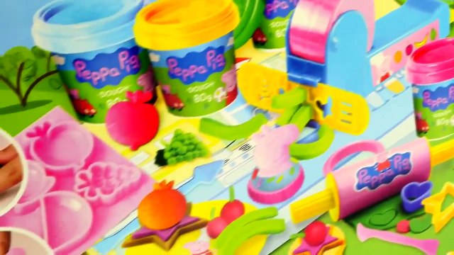 Peppa Pig Mega Dough Set Play Doh Peppa Toys Shapes Colors Moulds Cookies Fruits Vegetable Playdough