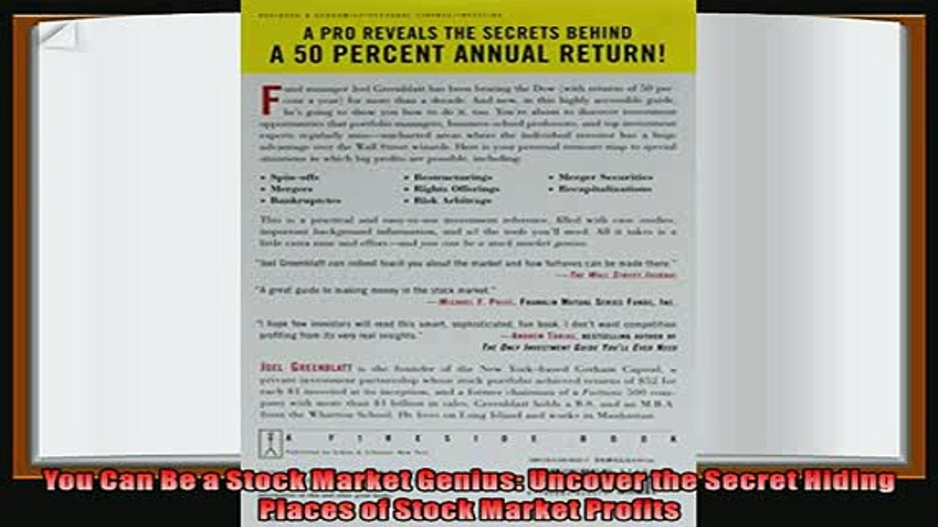 book online   You Can Be a Stock Market Genius Uncover the Secret Hiding Places of Stock Market Prof
