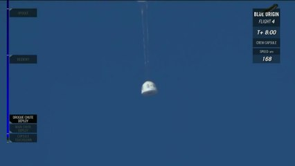 Blue Origin Capsule lands with 2 parachutes