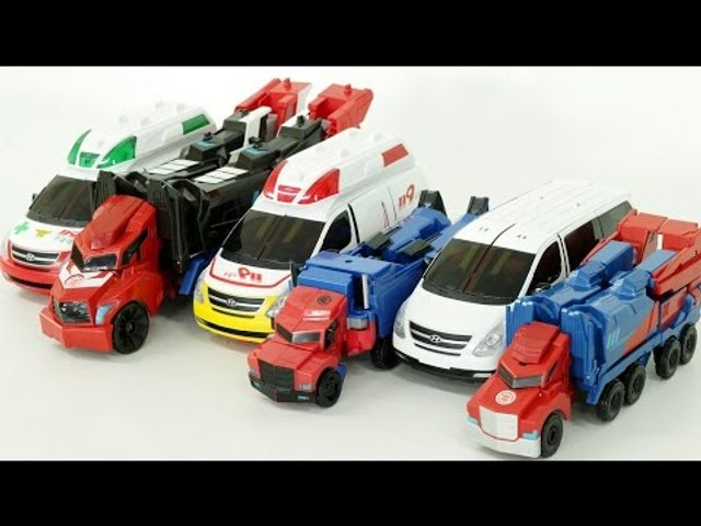 Transformers Autobot Optimus Prime Carbot Ambulance Robot Car Toys 트랜스포머  카봇 댄디 3종 장난감 로봇 변신 동영상