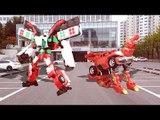 Transformers  헬로카봇 스타렉스 댄디/댄디 구급차 vs 카봇 고스트체이서 트루 실사 합성 장난감 자동차 동영상 CarBot Transformers car toys