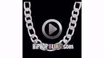 Figaro 12mm 24 Inch Silver Plated Hip Hop Chain Necklace