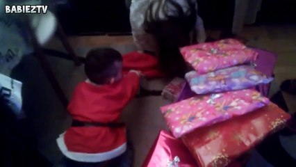 Cute Babies Are Happy To get Christmas Presents   Best Present Hello Kitty Shawl