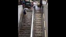 Metro subway station filled rain/flood water in Washington, USA