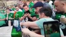Adeptos irlandeses surpreendem após danificarem uma viatura durante os festejos em França