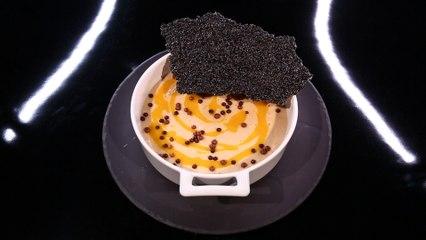 Mousse au chocolat blond « dulcey », coulis de kumquat, nougatine au sésame noir par Christophe Michalak (#DPDC)