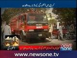 Karachi: Fire Brigade struggles to control garment factory fire