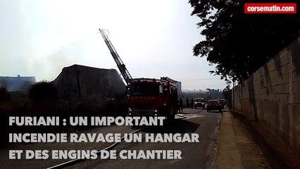 Video. Un important incendie ravage un hangar et des engins de chantier à Furiani