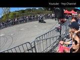Moto & quad stunt show. wheeling, stoppie, burn et 360 au salon de la moto de Cagnes.
