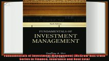 complete  Fundamentals of Investment Management McGrawHillIrwin Series in Finance Insurance and