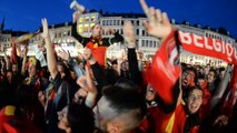 Superbe ambiance sur la place de Mons pour la victoire des Belges