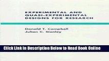 Read Experimental and Quasi-Experimental Designs for Research  Ebook Free