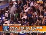 Cristina Kirchner le habla a la militancia. Patio Militante 1. La Cámpora